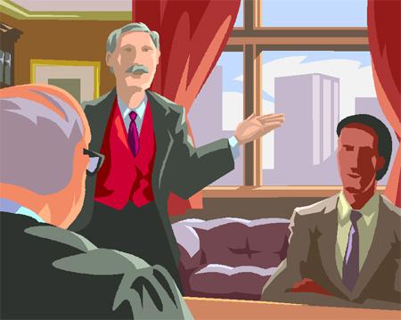弁護士と依頼者と話し合いのイラスト