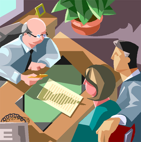 弁護士と打ち合わせをする依頼者のイラスト