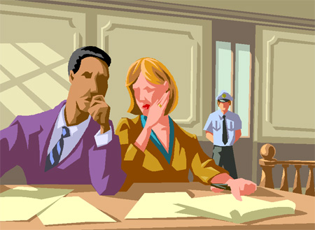 離婚の話をする依頼人と弁護士